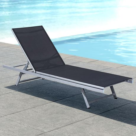 corliving pjr 309 r gallant silver and black reclining patio lounge chair - Patio Lounge Chairs