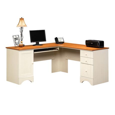 Sauder harbor view corner computer desk antiqued white finish with american cherry accents - Corner desks canada ...