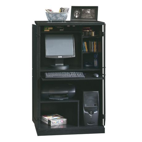 sauder computer armoire ebony ash finish 169729. Black Bedroom Furniture Sets. Home Design Ideas