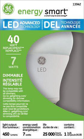 Lampe à DEL A19 GE 7 W – paquet de 1 - image 1 de 1