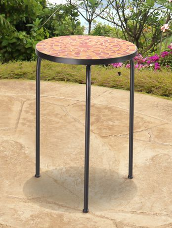 Sunjoy accent table orange halo patio furniture for Orange outdoor side table