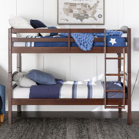 We Furniture Espresso Twin Solid Wood Bunk Bed Walmart Canada