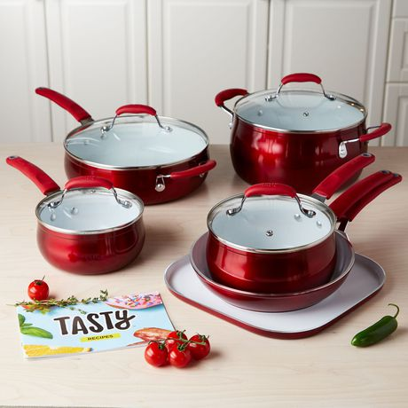 11-piece red and white cookware set with glass lids from Tasty