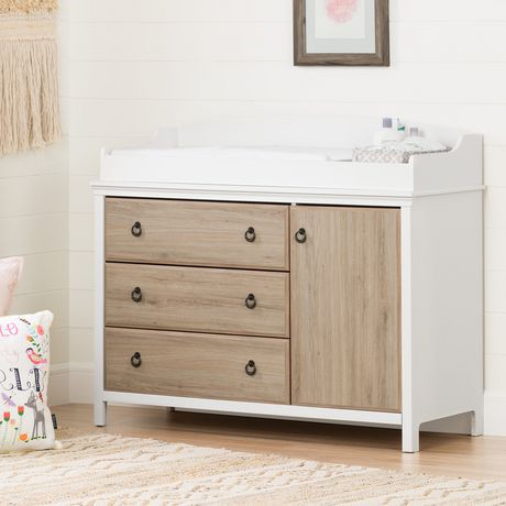 South Shore Catimini Changing Table With Removable Changing Station Pure White And Rustic Oak