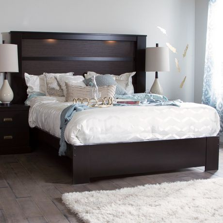 South Shore Gloria Queen Platform Bed With King Headboard