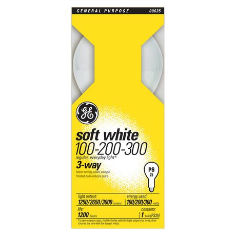 GE Soft White 100/200/300W 3-Way PS25 1pk - image 1 of 1