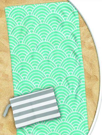 Turquoise Geometric Quick Dry Towel - image 1 of 1