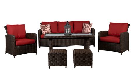 Beaumont 6pc High Table Conversation Set With Red Cushions Walmart Canada