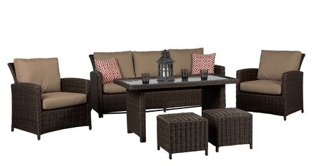 Beaumont 6pc High Table Conversation Set With Tan Cushions Walmart Canada