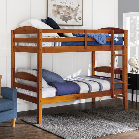 We Furniture Twin Solid Wood Bunk Bed Cherry Walmart Canada