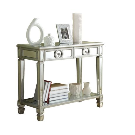 Table console monarch specialties en miroir et argent for Miroir walmart