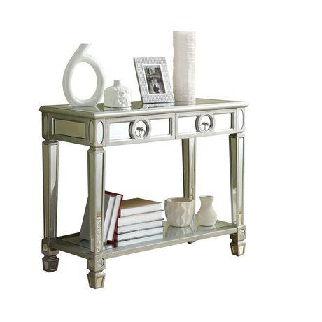 Table console monarch specialties en miroir et argent for Miroir walmart