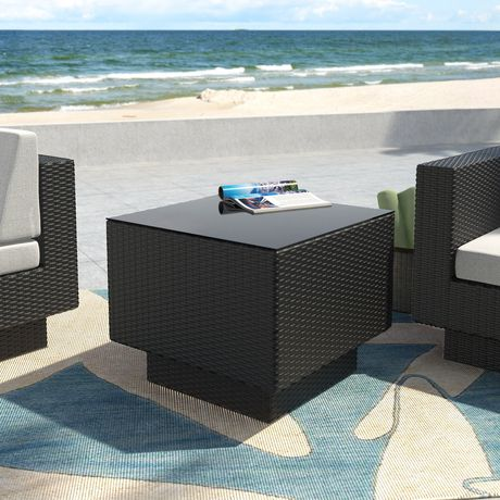 CorLiving PPT-301-T Park Terrace Textured Black Weave Patio Side Table - image 1 of 3