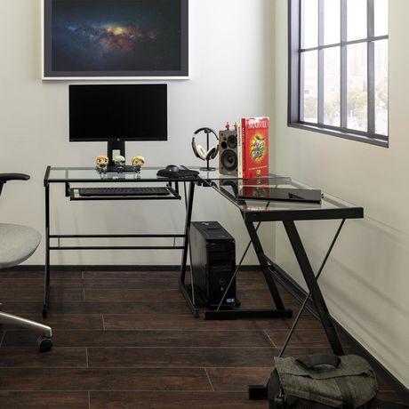 Manor Park Bureau d'ordinateur en coin de verre et de métal - noir - image 2 de 8