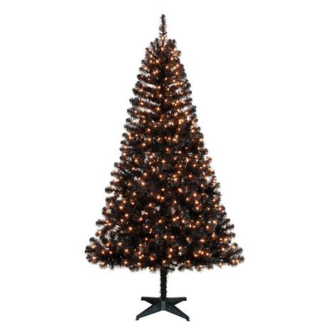 Holiday Time 6.5' Madison Black Pine with Clear Lights Christmas ...