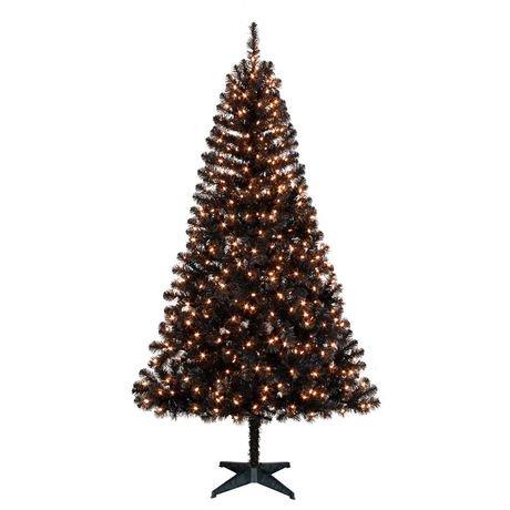 holiday time 65 madison black pine with clear lights christmas tree walmart canada - Black Christmas Tree