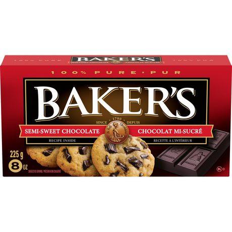 Barre de chocolat mi-sucré 100 % pur Baker's pour la cuisson - image 1 de 4