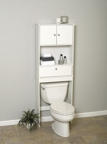 bathroom cabinets over toilet walmart mainstays white wood spacesaver with cabinet and drop door 11340