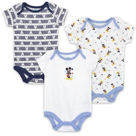 Disney Boys' Mickey Mouse short Sleeve Bodysuits - Pack of 3 - image 1 of 5