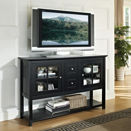 52 black wood console table tv stand for Table under tv