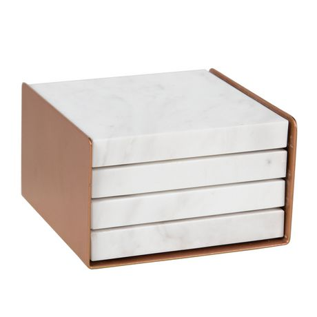 hometrends Four White and Gray Marble Coasters In Rose Gold Metal Holder - image 1 of 6