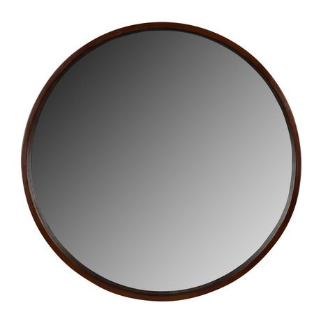 Hometrends woodtone finish round mirror walmart canada for Round mirror canada