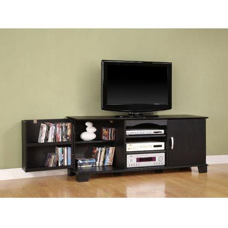 60 39 39 black wood tv stand with media storage walmart canada. Black Bedroom Furniture Sets. Home Design Ideas
