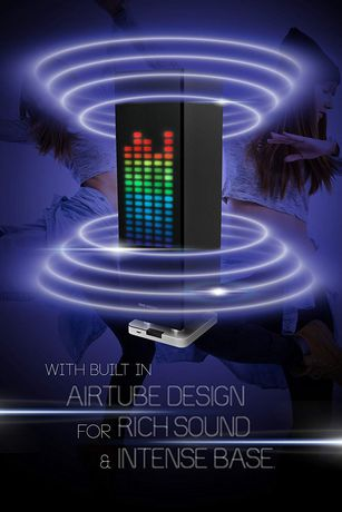 Sharper Image Table Top Tower Speaker With Led Light Display