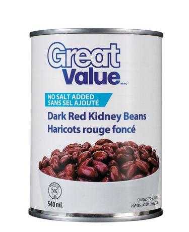 Great Value No Salt Added Dark Red Kidney Beans - image 1 of 2