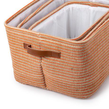 Truu Design, Ensemble de paniers de rangement, rayé, Orange - image 6 de 6