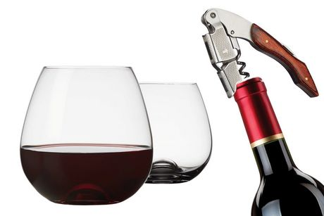Three-piece wine set from Brilliant containing two flat-bottomed wine glasses and a corkscrew
