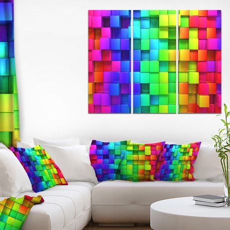 Design Art Rainbow of Colorful Boxes Canvas Print - image 1 of 3