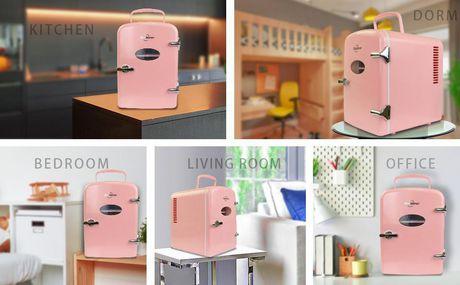 Koolatron KRT04-P 6 Can AC/DC Retro Electric Mini Cooler in Pink (4.2 Quarts/4 Liters) - image 5 of 6