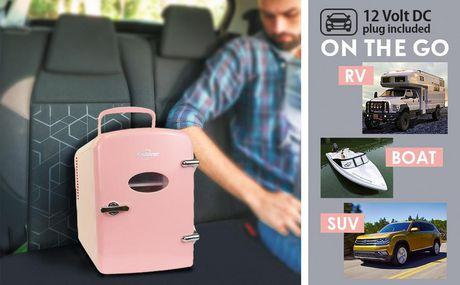 Koolatron KRT04-P 6 Can AC/DC Retro Electric Mini Cooler in Pink (4.2 Quarts/4 Liters) - image 6 of 6