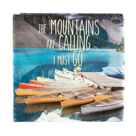 """Canadiana Photo Real Serviettes """"Les montagnes appellent je dois partir"""", 40 CT par Horizon Group USA - image 1 de 2"""