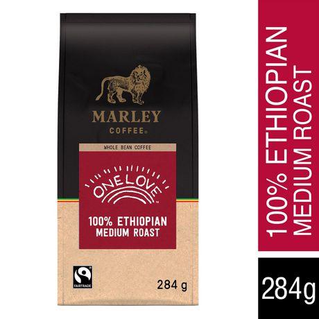 Marley Coffee One Love 100% Ethiopian Whole Bean Coffee, Medium
