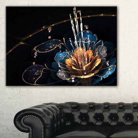 Design Art Orange Blue Flower with Water Drops Floral Digital Art Canvas Print - image 1 of 3