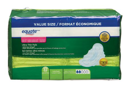 Equate Long Super with Flexi Wings Ultra Thin Pads