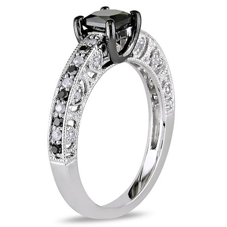 Asteria 1 Carat T.W. Black And White Diamond Sterling Silver Engagement Ring