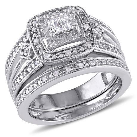 Ensemble nuptial de forme auréole Miabella avec diamants 0,25 CT poids total en argent sterling - image 1 de 5