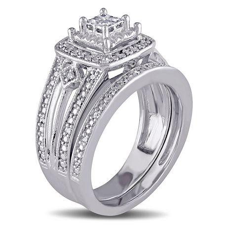 Ensemble nuptial de forme auréole Miabella avec diamants 0,25 CT poids total en argent sterling - image 2 de 5