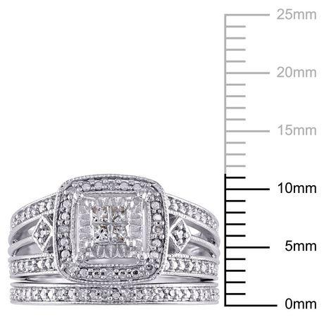 Ensemble nuptial de forme auréole Miabella avec diamants 0,25 CT poids total en argent sterling - image 3 de 5