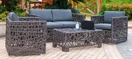 Henryka 4 Piece Conversation Patio Set   Grey