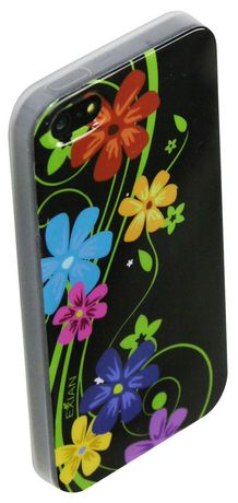 Exian Case for iPhone SE 5/5s - Floral Pattern on Black - image 2 of 2