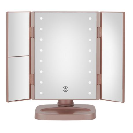 True Glow 1x 2x 3x Trifold Led Lighted Makeup Mirror