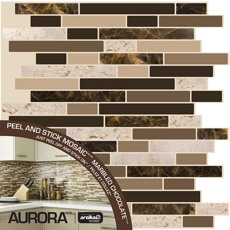 Aurora marbled chocolate peel n 39 stick for Paintable peel n stick wallpaper