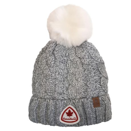 Grey Canadiana hat toque with white pompom on top and stitched Canada logo on brim