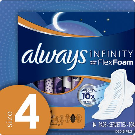 Always Infinity Size 4 Overnight Pads with Wings, Unscented - image 7 of 7