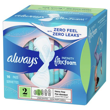always infinity size 2 super pads with wings unscented walmart canada