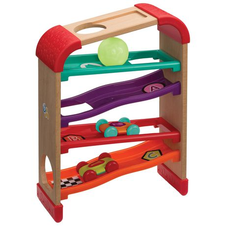 Infantino Llc Infantino Bkids Natural Wood Toy Race Drop Roller Rack